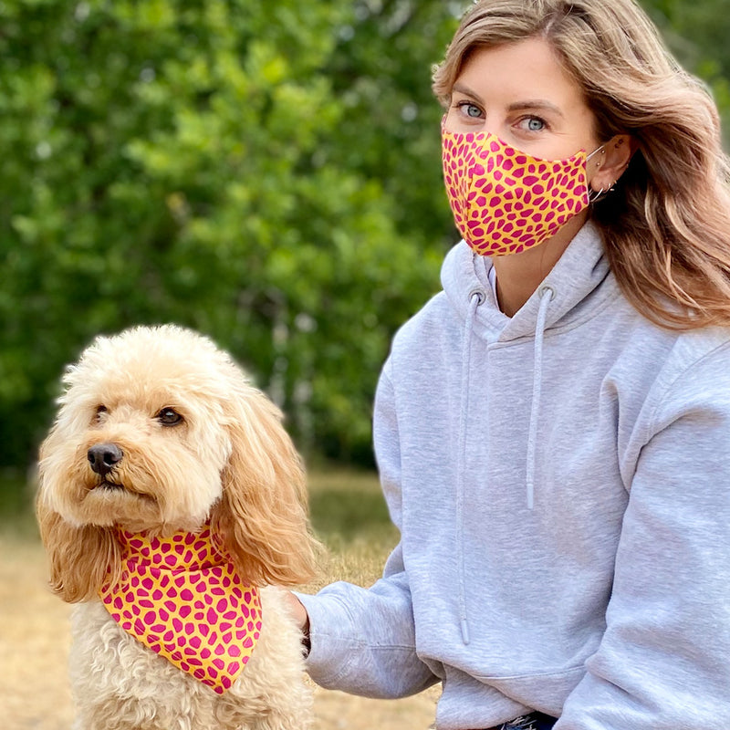 Matching Washable Giraffe Print Face mask and Dog Bandana