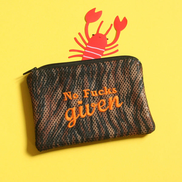 No F**ks Given Sparkly Animal Print Coin Purse