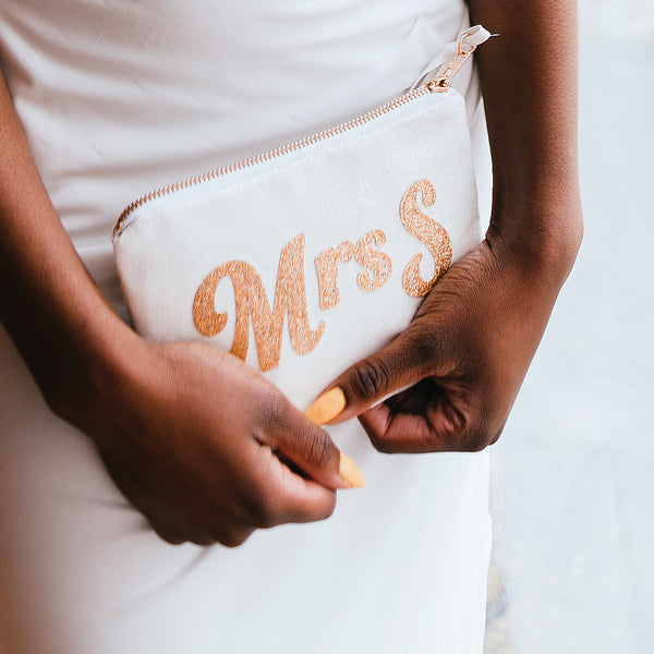 Patti Personalised Mrs Bridal Glitter Clutch Bag