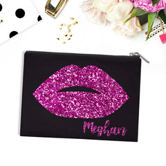 Personalised Glitter Lips pouch / makeup bag