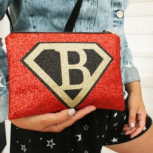 Superhero style shield Personalised Clutch Bag with Detachable Strap