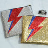 Silver Glitter Lightning Bolt Clutch Bag