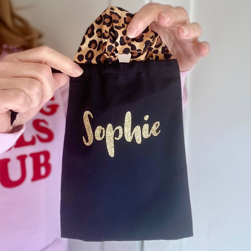 Personalised Leopard Luxe Hair Scrunchie gift for her