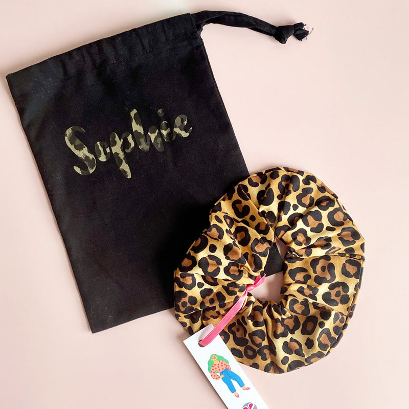 Sophie Personalised both sides cotton bag with leopard scrunchie