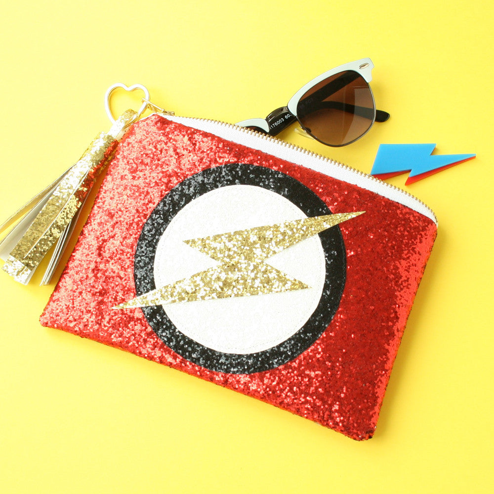 Superhero Flash Clutch Bag in Red