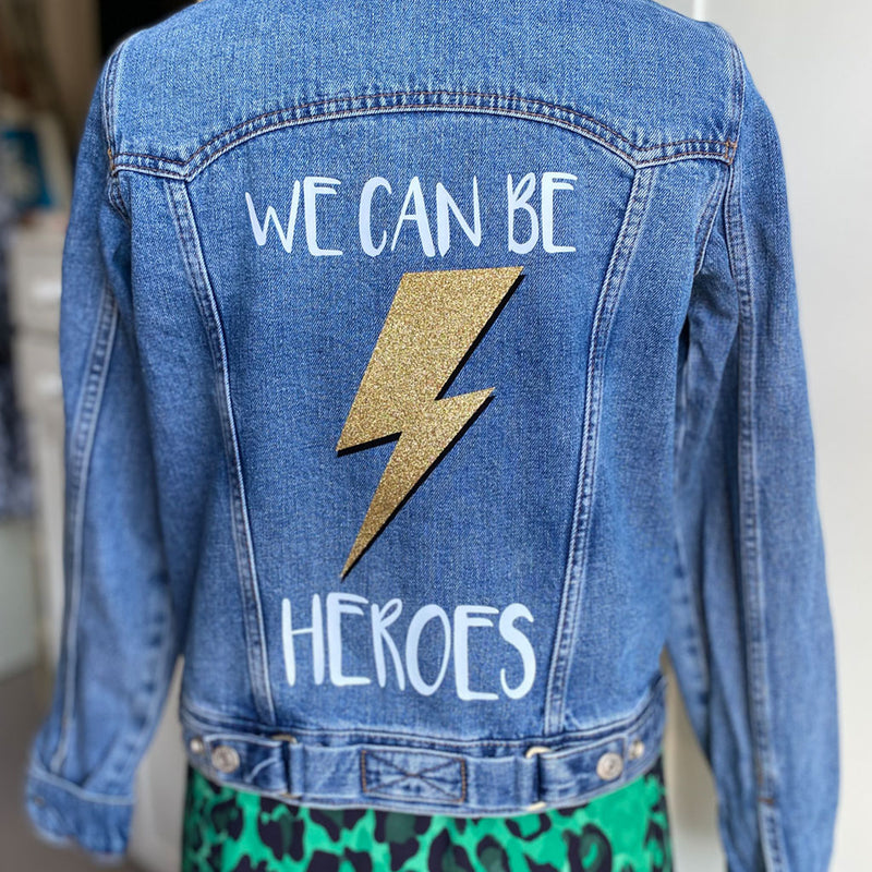 Women's Size 8 We Can Be Heroes Customised Denim Jacket