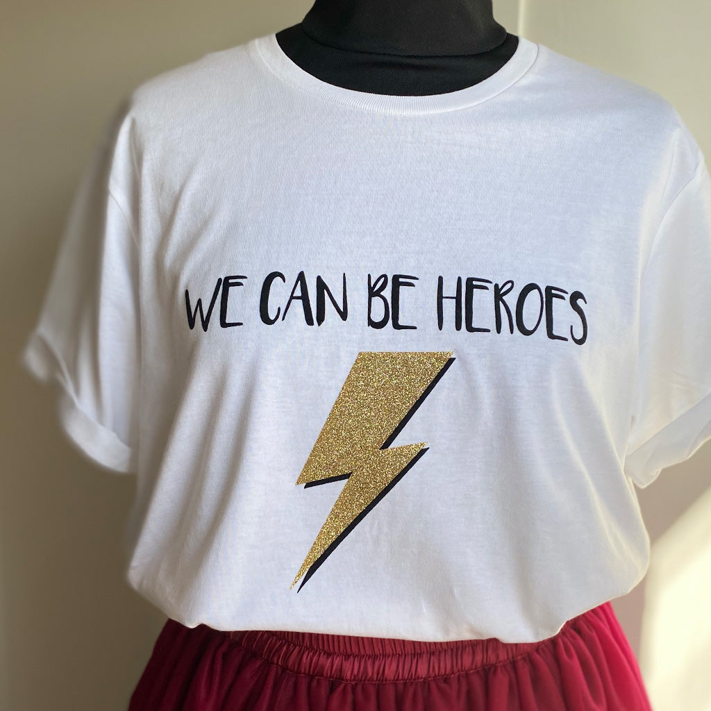 We can be Heroes White Organic Rolled Sleeve Cotton T-shirt