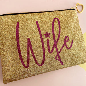 Glittery Gold Wife clutch bag with rare vintage lining