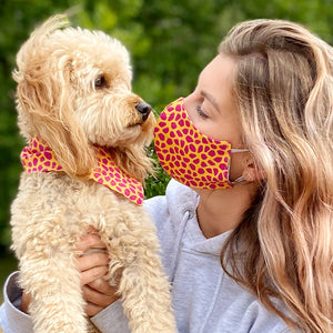Matching Washable Animal Print Face mask and Dog Bandana