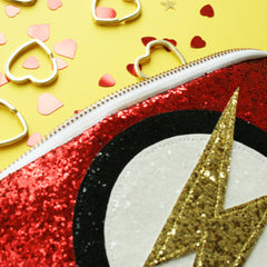 Superhero Flash Clutch Bag in Red Detail