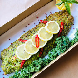 Baked Whole Tasmanian Salmon with a Quinoa, Green Peas & Feta Curst  GF*
