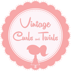Navy and White SET | Vintage Curls and Twirls