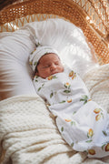 Snuggle swaddle and beanie set - Lemon