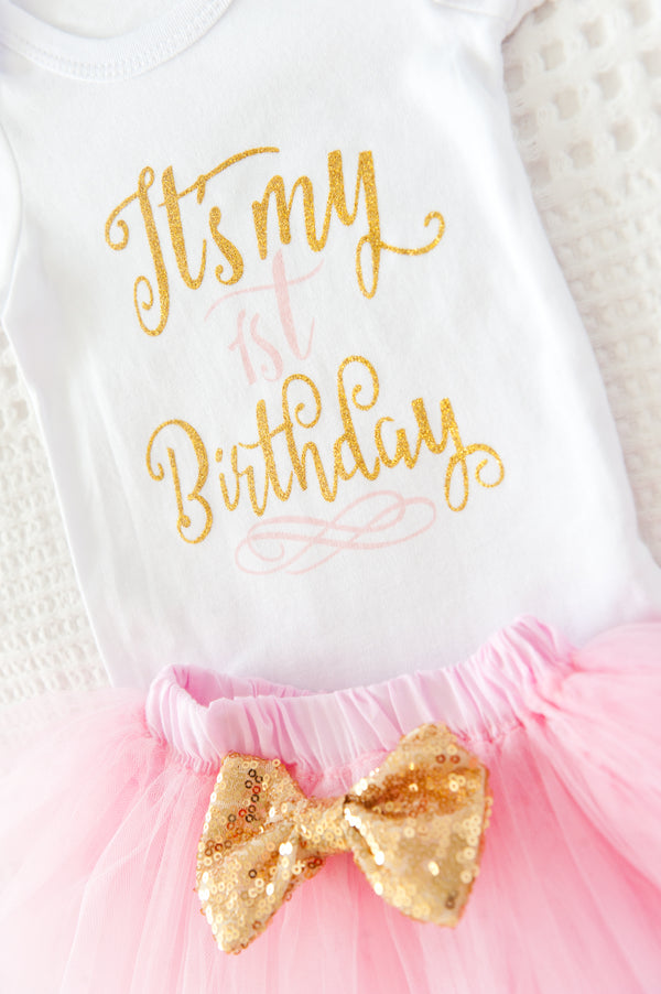 My 1st Birthday Tutu Set - Baby Pink