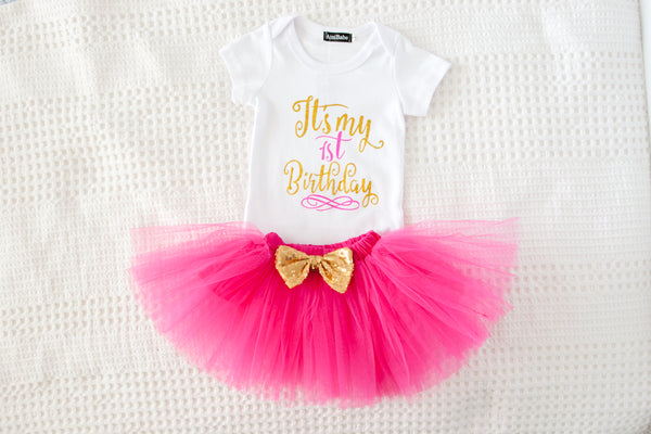 My 1st Birthday Tutu Set - Hot Pink