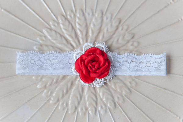 Baby Rose Lace Headband - Red