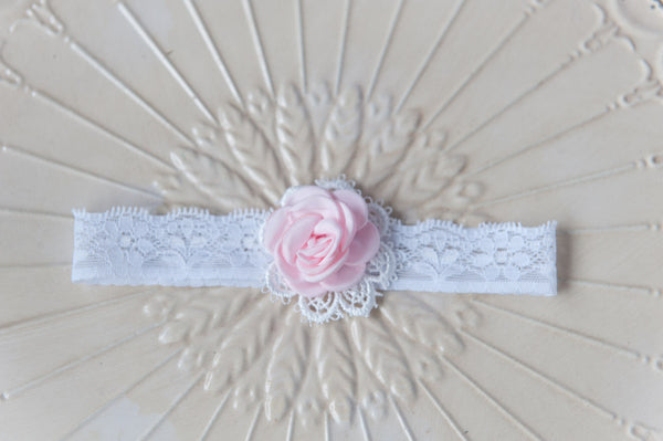 Baby Rose Lace Headband - Baby Pink