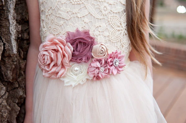 Dusty Rose Floral Sash