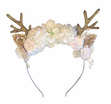 Golden Blossom Reindeer Headband