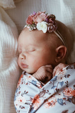 Snuggle swaddle and topknot set - Vintage Blossom