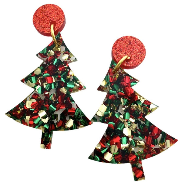 Christmas Tree Earrings - Merry