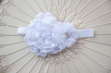 White Rose Bling Headband