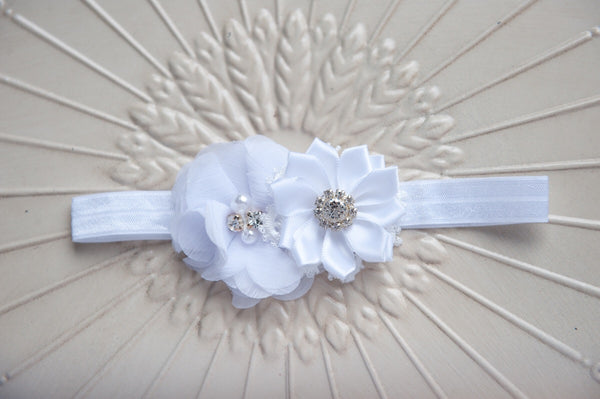 Mini chiffon pearl headband
