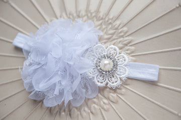 White Lace Christening Headband