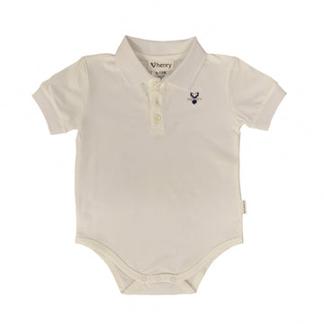Polo Romper - White