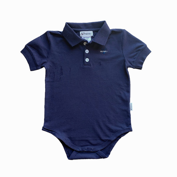 Polo Romper - Navy