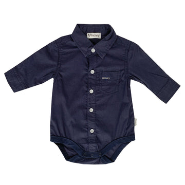 Shirt Romper - Navy