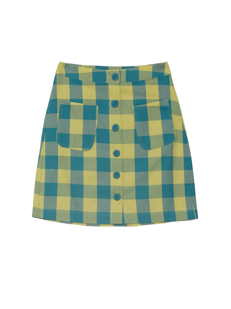 Женская юбка BLUE AND YELLOW GINGHAM SKIRT Низ LAZY OAF
