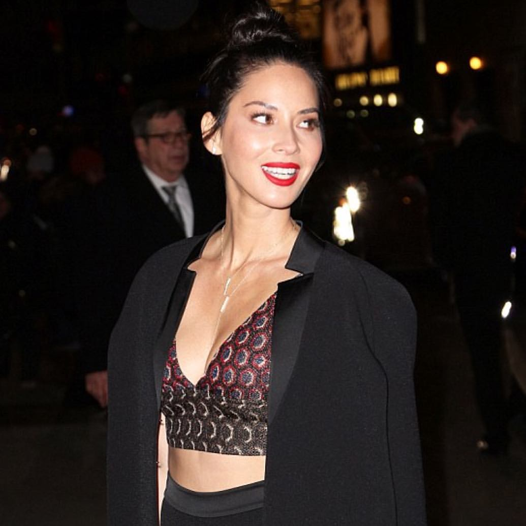 Olivia Munn in NYC layering EFC necklaces