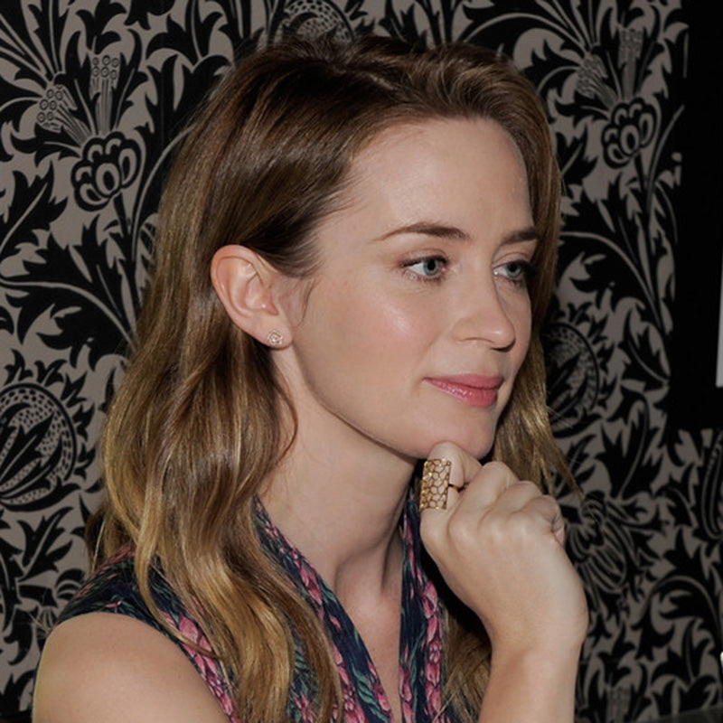 Emily Blunt wearing EF Collection Diamond Rose Stud earring in 14k Rose Gold!