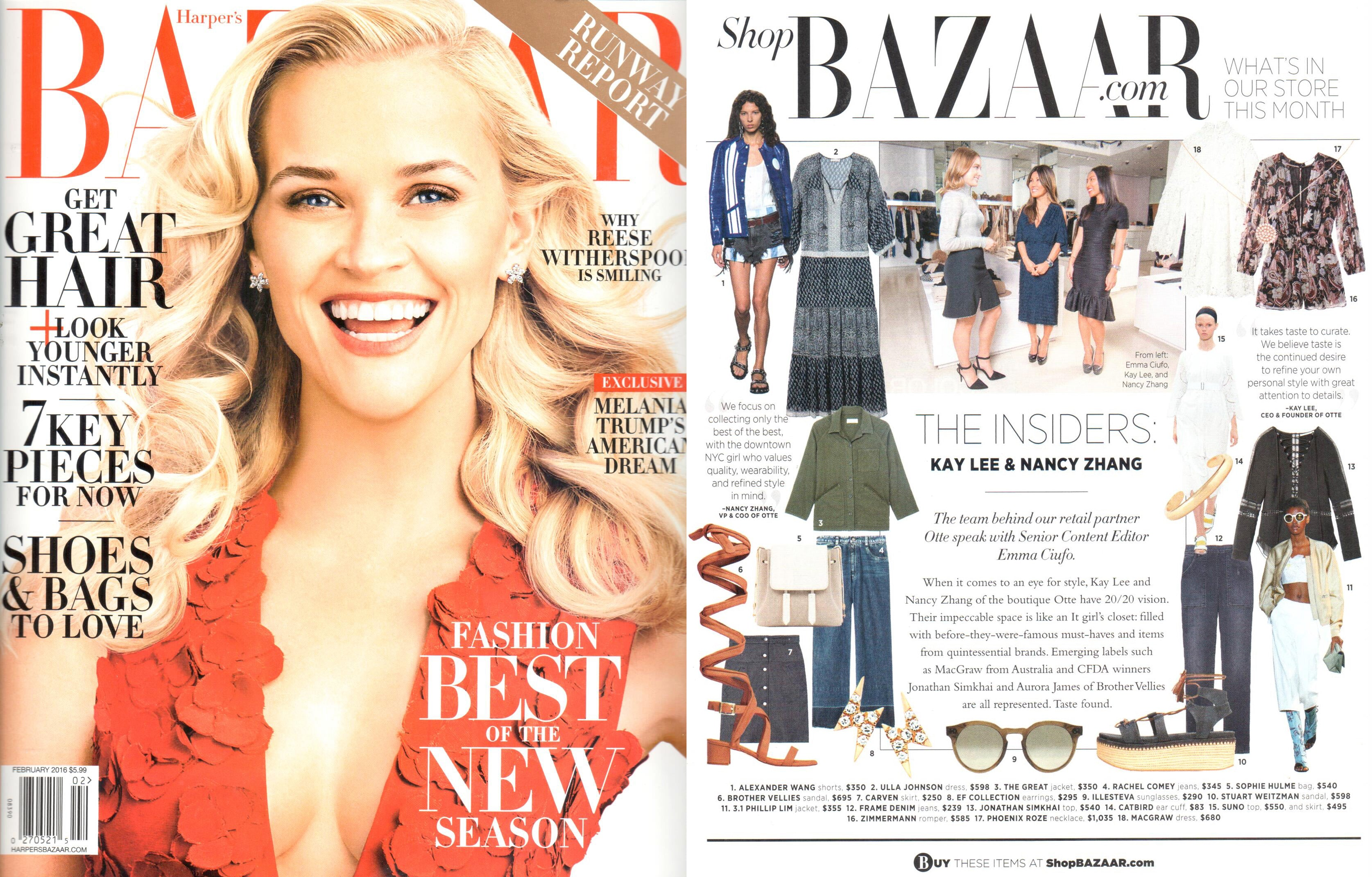 EFC Diamond Mini Lightening Bolt Studs featured in the February 2016 issue of Harper's Bazaar!
