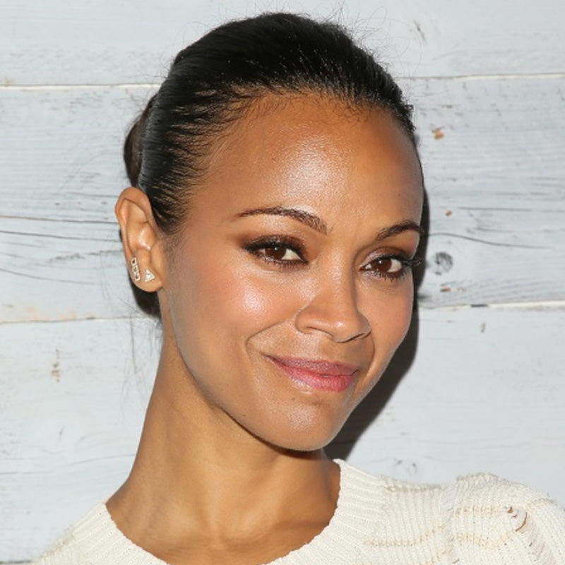 Zoe Saldana wearing EF Collection Diamond White Topaz Triangle Stud
