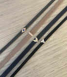 Diamond Bar Leather Choker / Double Wrap Bracelet