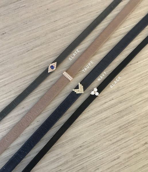 Diamond Triple Bar Leather Bracelet