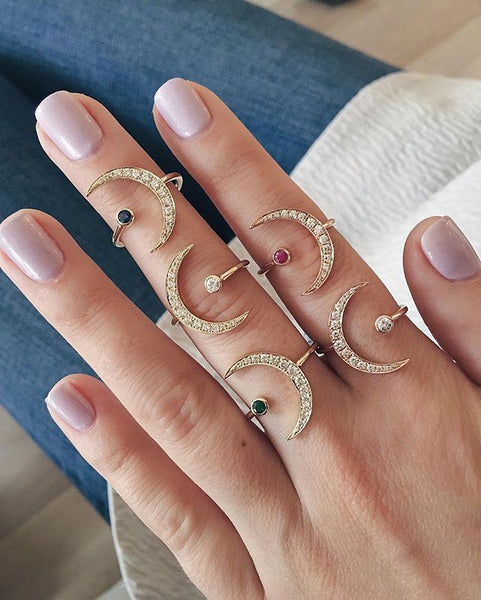 EF Collection Diamond Crescent Moon Ring - 3