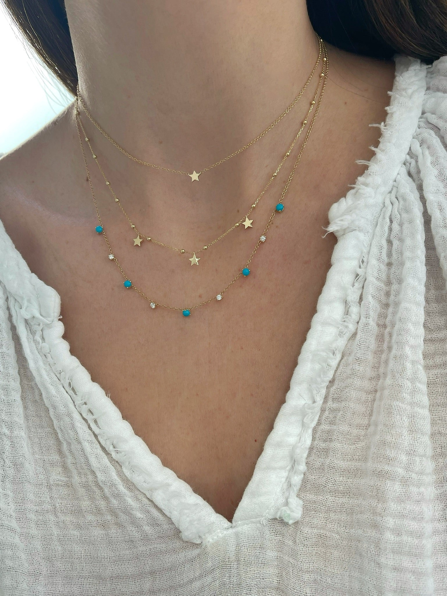 Multi Turquoise And Diamond Necklace
