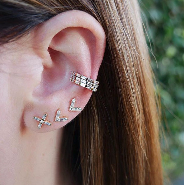 Diamond Baguette X Stud Earring