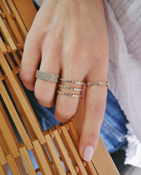 Diamond Baguette Triple Spiral Ring
