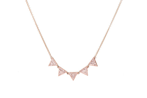 EF Collection Diamond 5 Triangle Necklace - 1