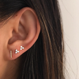 Black Diamond Bar Stud Earring