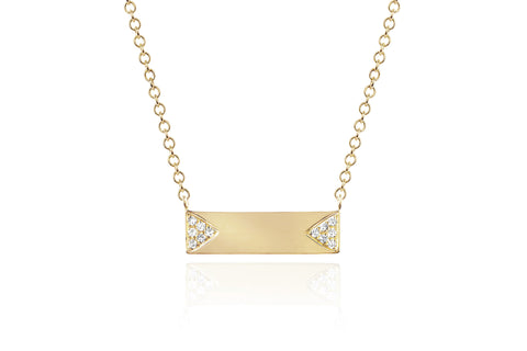 EF Collection Diamond Double Triangle Mini Nameplate Necklace - 1