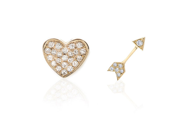 Diamond Heart and Arrow Stud Earring