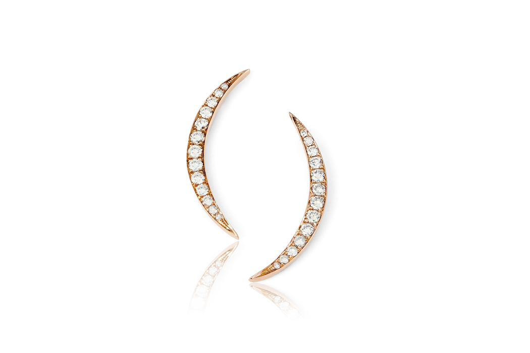 EF Collection Diamond Crescent Moon Stud Earrings - 1
