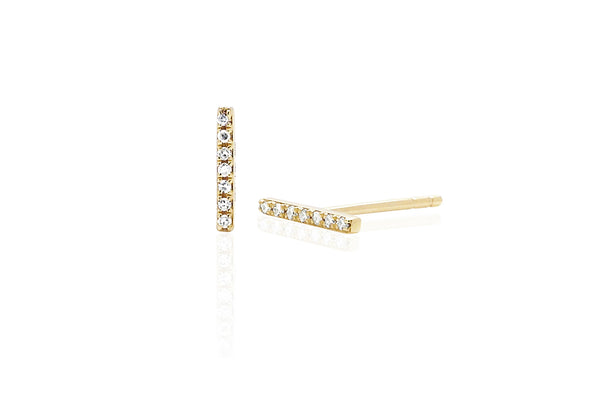 EF Collection Diamond Bar Stud Earrings - 1
