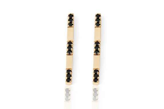 EF Collection Black Diamond Segment Bar Stud Earrings - 1