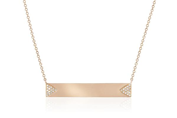 Diamond Double Triangle Nameplate Necklace